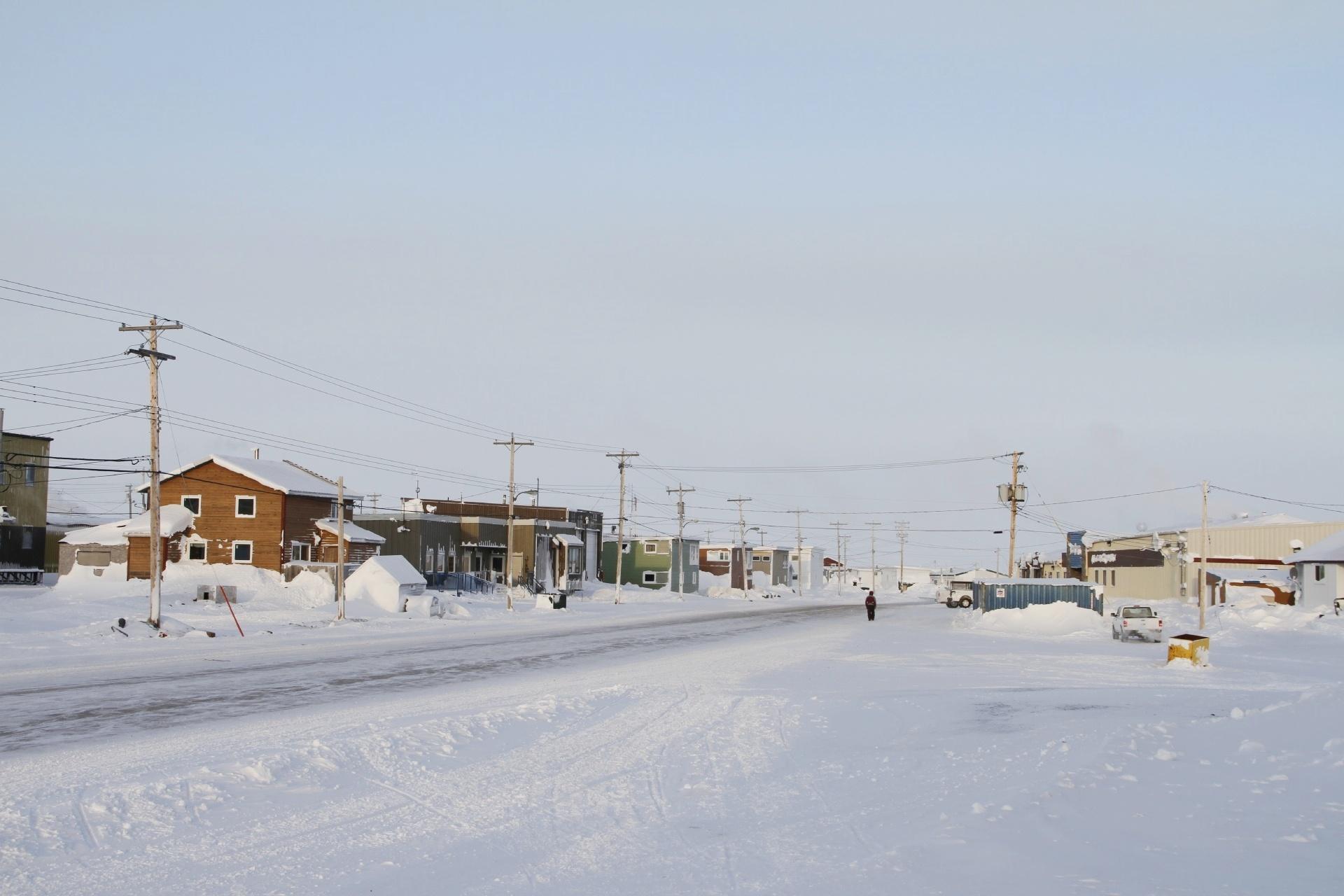 北極圏の風景 ヌナブト準州アルビアトの冬の風景